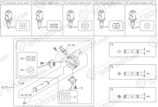 Yamaha Yg200 201a 202a 203a 206a 209a Smt Smd Nozzle